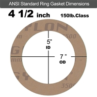 "Garlock 3500 Fawn Gylon® Ring Gasket - 150 Lb. - 1/8"" Thick - 4-1/2"" Pipe"