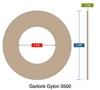 "Garlock 3500 Fawn Gylon® Ring Gasket - 300 Lb. - 1/16"" Thick - 2"" Pipe"