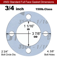 "Garlock Gylon® 3504 Full Face Gasket - 150 Lb. - 1/16"" Thick - 3/4"" Pipe"
