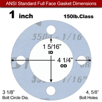 "Garlock Gylon® 3504 Full Face Gasket - 150 Lb. - 1/16"" Thick - 1"" Pipe"