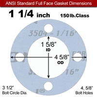 "Garlock Gylon® 3504 Full Face Gasket - 150 Lb. - 1/16"" Thick - 1-1/4"" Pipe"