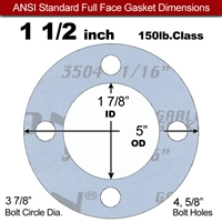 "Garlock Gylon® 3504 Full Face Gasket - 150 Lb. - 1/16"" Thick - 1-1/2"" Pipe"