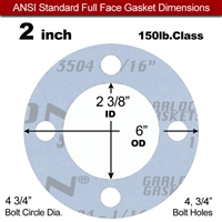 "Garlock Gylon® 3504 Full Face Gasket - 150 Lb. - 1/16"" Thick - 2"" Pipe"