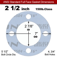 "Garlock Gylon® 3504 Full Face Gasket - 150 Lb. - 1/16"" Thick - 2-1/2"" Pipe"