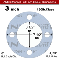"Garlock Gylon® 3504 Full Face Gasket - 150 Lb. - 1/16"" Thick - 3"" Pipe"