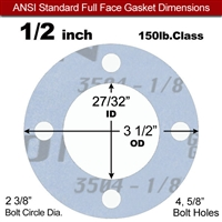 "Garlock Gylon® 3504 Full Face Gasket - 150 Lb. - 1/8"" Thick - 1/2"" Pipe"