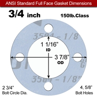 "Garlock Gylon® 3504 Full Face Gasket - 150 Lb. - 1/8"" Thick - 3/4"" Pipe"