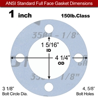 "Garlock Gylon® 3504 Full Face Gasket - 150 Lb. - 1/8"" Thick - 1"" Pipe"