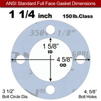 "Garlock Gylon® 3504 Full Face Gasket - 150 Lb. - 1/8"" Thick - 1-1/4"" Pipe"