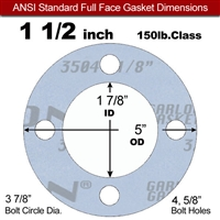 "Garlock Gylon® 3504 Full Face Gasket - 150 Lb. - 1/8"" Thick - 1-1/2"" Pipe"