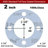 "Garlock Gylon® 3504 Full Face Gasket - 150 Lb. - 1/8"" Thick - 2"" Pipe"