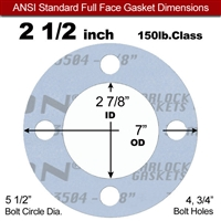"Garlock Gylon® 3504 Full Face Gasket - 150 Lb. - 1/8"" Thick - 2-1/2"" Pipe"