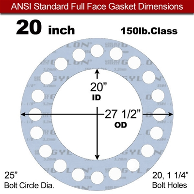 "Garlock Gylon® 3504 Full Face Gasket - 150 Lb. - 1/8"" Thick - 20"" Pipe"