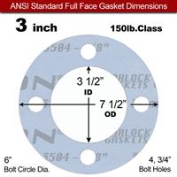"Garlock Gylon® 3504 Full Face Gasket - 150 Lb. - 1/8"" Thick - 3"" Pipe"