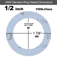 "Garlock Gylon® 3504 Ring Gasket - 150 Lb. - 1/16"" Thick - 1/2"" Pipe"