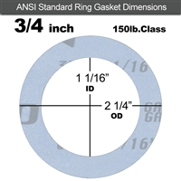 "Garlock Gylon® 3504 Ring Gasket - 150 Lb. - 1/16"" Thick - 3/4"" Pipe"