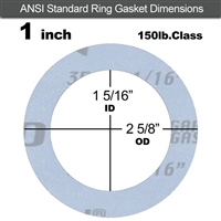 "Garlock Gylon® 3504 Ring Gasket - 150 Lb. - 1/16"" Thick - 1"" Pipe"