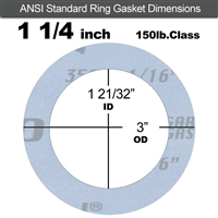 "Garlock Gylon® 3504 Ring Gasket - 150 Lb. - 1/16"" Thick - 1-1/4"" Pipe"