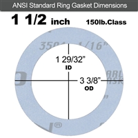 "Garlock Gylon® 3504 Ring Gasket - 150 Lb. - 1/16"" Thick - 1-1/2"" Pipe"