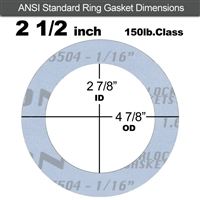 "Garlock Gylon® 3504 Ring Gasket - 150 Lb. - 1/16"" Thick - 2-1/2"" Pipe"