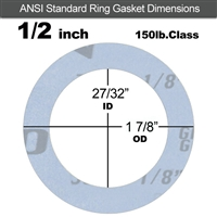 "Garlock Gylon® 3504 Ring Gasket - 150 Lb. - 1/8"" Thick - 1/2"" Pipe"