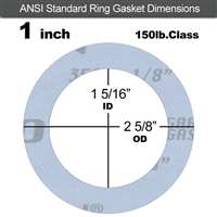 "Garlock Gylon® 3504 Ring Gasket - 150 Lb. - 1/8"" Thick - 1"" Pipe"