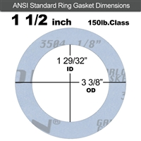 "Garlock Gylon® 3504 Ring Gasket - 150 Lb. - 1/8"" Thick - 1-1/2"" Pipe"