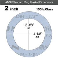 "Garlock Gylon® 3504 Ring Gasket - 150 Lb. - 1/8"" Thick - 2"" Pipe"