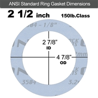 "Garlock Gylon® 3504 Ring Gasket - 150 Lb. - 1/8"" Thick - 2-1/2"" Pipe"