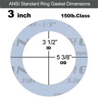 "Garlock Gylon® 3504 Ring Gasket - 150 Lb. - 1/8"" Thick - 3"" Pipe"