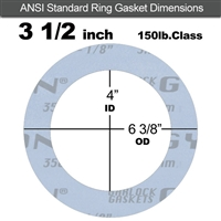 "Garlock Gylon® 3504 Ring Gasket - 150 Lb. - 1/8"" Thick - 3-1/2"" Pipe"