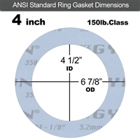 "Garlock Gylon® 3504 Ring Gasket - 150 Lb. - 1/8"" Thick - 4"" Pipe"
