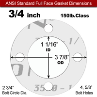 "Garlock Gylon® 3510 Full Face Gasket - 150 Lb. - 1/16"" Thick - 3/4"" Pipe"