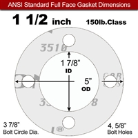 "Garlock Gylon® 3510 Full Face Gasket - 150 Lb. - 1/16"" Thick - 1-1/2"" Pipe"