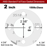 "Garlock Gylon® 3510 Full Face Gasket - 150 Lb. - 1/16"" Thick - 2"" Pipe"