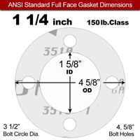 "Garlock Gylon® 3510 Full Face Gasket - 150 Lb. - 1/8"" Thick - 1-1/4"" Pipe"