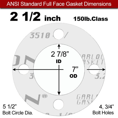 "Garlock Gylon® 3510 Full Face Gasket - 150 Lb. - 1/8"" Thick - 2-1/2"" Pipe"