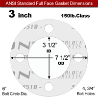 "Garlock Gylon® 3510 Full Face Gasket - 150 Lb. - 1/8"" Thick - 3"" Pipe"