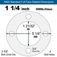 "Garlock Gylon® 3510 Full Face Gasket - 300 Lb. - 1/16"" Thick - 1-1/4"" Pipe"