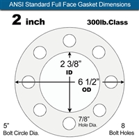 "Garlock Gylon® 3510 Full Face Gasket - 300 Lb. - 1/16"" Thick - 2"" Pipe"