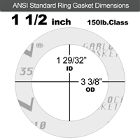 "Garlock Gylon® 3510 Ring Gasket - 150 Lb. - 1/16"" Thick - 1-1/2"" Pipe"