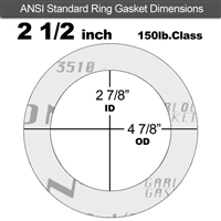 "Garlock Gylon® 3510 Ring Gasket - 150 Lb. - 1/16"" Thick - 2-1/2"" Pipe"