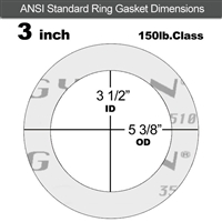 "Garlock Gylon® 3510 Ring Gasket - 150 Lb. - 1/16"" Thick - 3"" Pipe"
