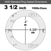 "Garlock Gylon® 3510 Ring Gasket - 150 Lb. - 1/16"" Thick - 3-1/2"" Pipe"