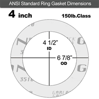"Garlock Gylon® 3510 Ring Gasket - 150 Lb. - 1/16"" Thick - 4"" Pipe"