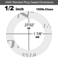 "Garlock Gylon® 3510 Ring Gasket - 150 Lb. - 1/8"" Thick - 1/2"" Pipe"