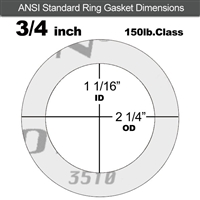 "Garlock Gylon® 3510 Ring Gasket - 150 Lb. - 1/8"" Thick - 3/4"" Pipe"
