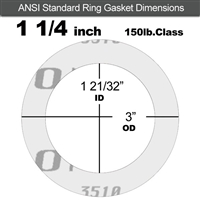 "Garlock Gylon® 3510 Ring Gasket - 150 Lb. - 1/8"" Thick - 1-1/4"" Pipe"