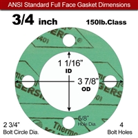 "C-4401 Green N/A NBR Full Face Gasket - 150 Lb. - 1/16"" Thick - 3/4"" Pipe"