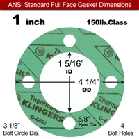 "C-4401 Green N/A NBR Full Face Gasket - 150 Lb. - 1/16"" Thick - 1"" Pipe"